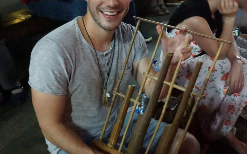 Ben plays the Angklung